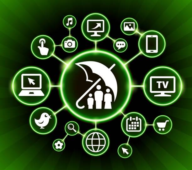 ilustrações de stock, clip art, desenhos animados e ícones de family insurance internet communication technology dark buttons background - tv e familia e ecrã