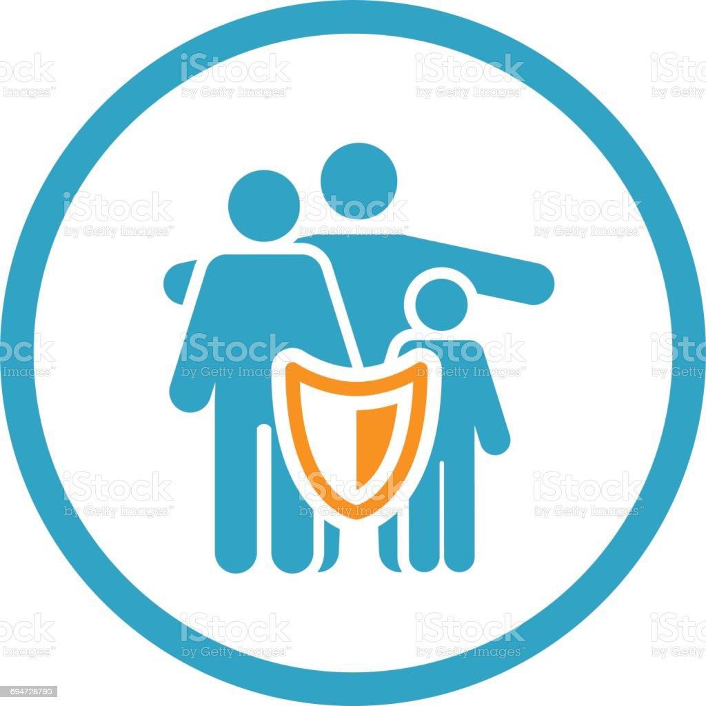 Solutions d'assurance de la famille et l'icône Services. - Illustration vectorielle