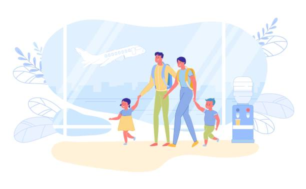 Family International Travel and Vacation Abroad. Family International Travel and Summer Vacation Abroad. Parents and Children Cartoon Characters with Suitcases in Airport Departure Hall Waiting for Plane Boarding. Flat Vector Illustration. airport silhouettes stock illustrations
