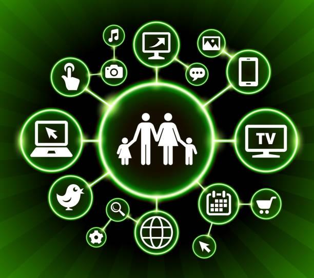 ilustrações de stock, clip art, desenhos animados e ícones de family internet communication technology dark buttons background - tv e familia e ecrã