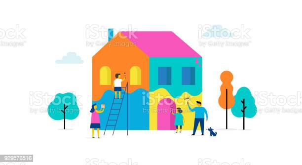 Family is painting home concept design summer outdoor scene with vector id929576516?b=1&k=6&m=929576516&s=612x612&h=vms4jwnwh4za8ceawrmut5jfthi1qluizenbb6q6ya0=