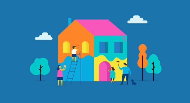 Family is painting home, concept design. Summer outdoor scene with colorful minimalistic flat vector illustration vector art illustration