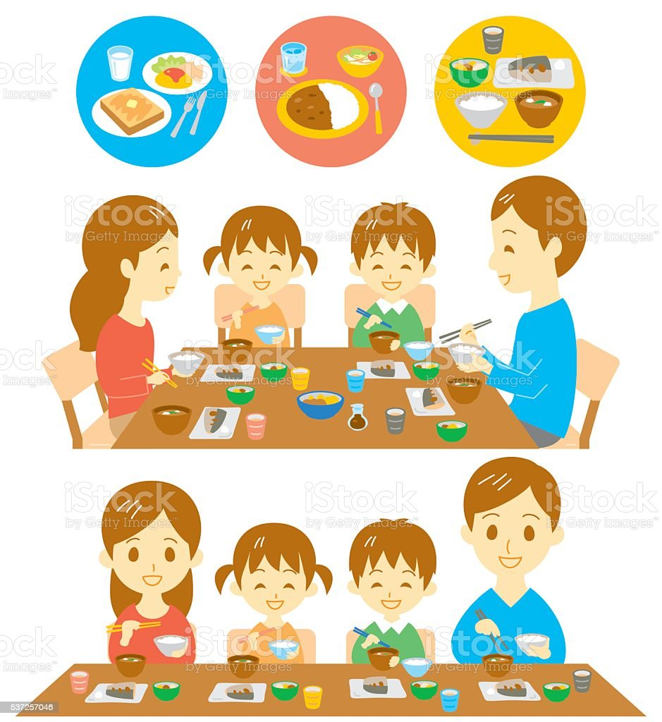 Family Japanese meals vector art illustration