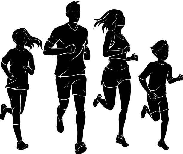 Family Jogging vector art illustration