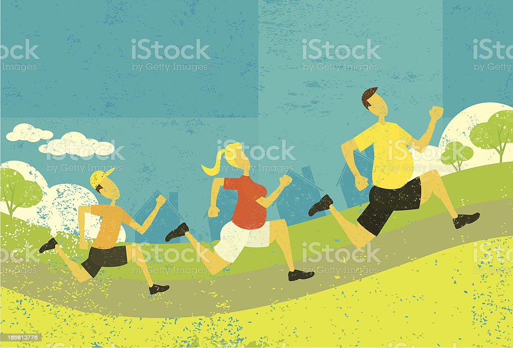 Family jogging vector art illustration