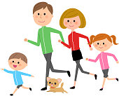 Illustration of a family jogging.
