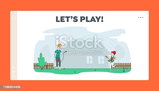 istock Family Joy Landing Page Template. Happy Mother and Daughter Spraying from Water Hose in Hot Summer Time Season Weather 1266654406