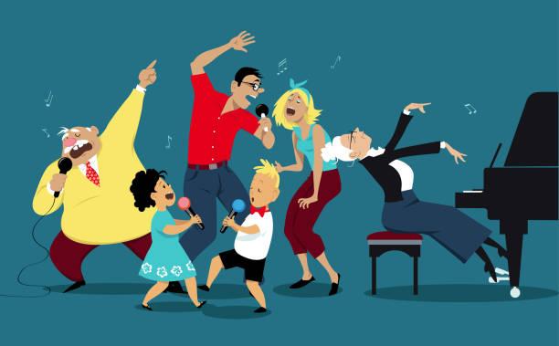 family karaoke night - happy holidays stock illustrations