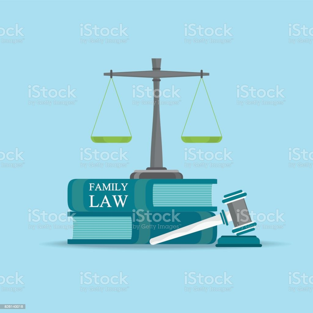 Family  Law books with a judges gavel in flat style. vector art illustration