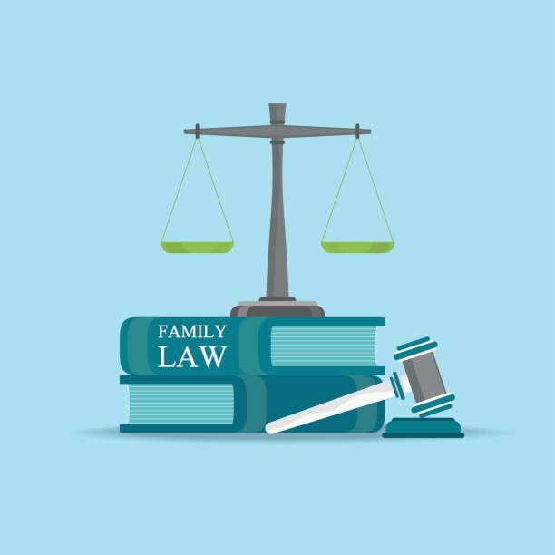 illustrazioni stock, clip art, cartoni animati e icone di tendenza di family  law books with a judges gavel in flat style. - divorzio