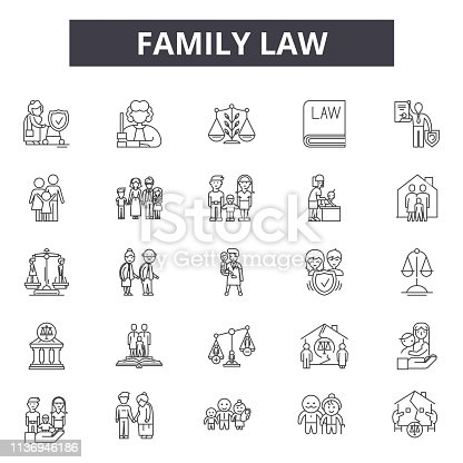 istock Family law line icons for web and mobile design. Editable stroke signs. Family law  outline concept illustrations 1136946186