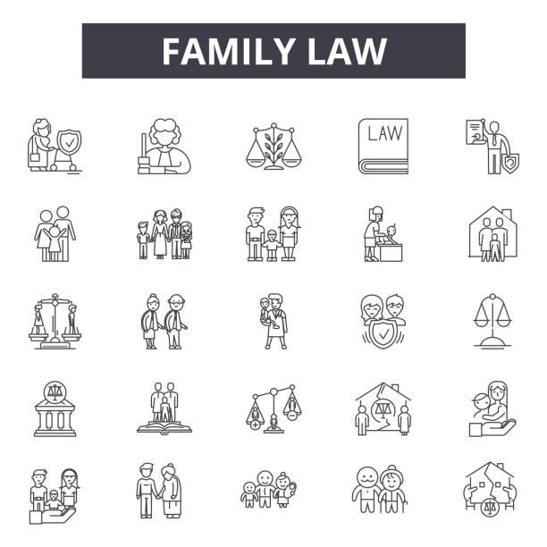 illustrations, cliparts, dessins animés et icônes de icônes de ligne de droit de la famille pour la conception web et mobile. signes de contour modifiables. illustrations conceptuelles du droit de la famille - notaire