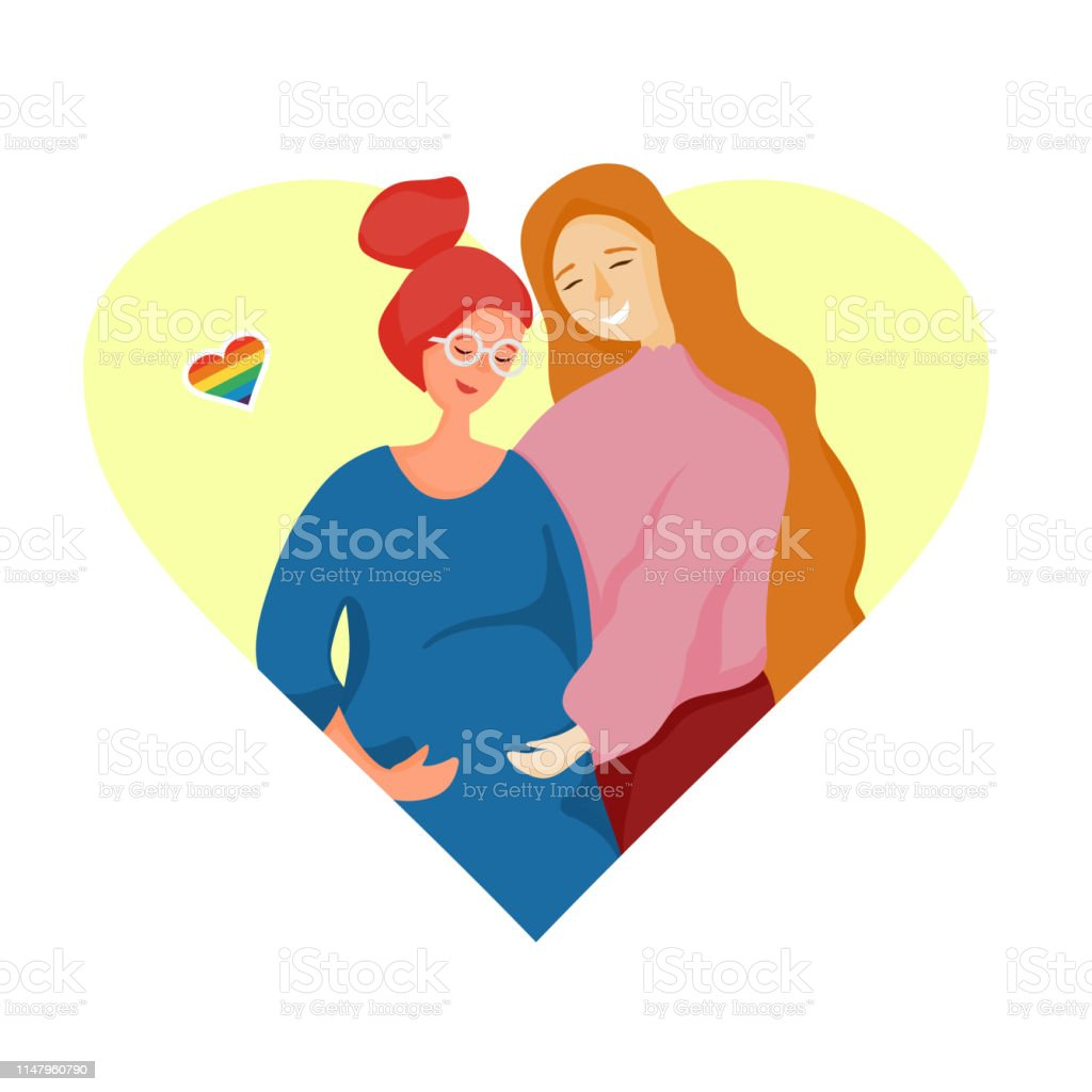 Lgbt Family Lesbian Couple Waiting For A Baby Child Pregnant ...