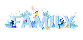 Big Family Text with Small Family Members Figures and Pets among Letters. Cartoon Mother, Father, Daughter, Son, Baby, Cat, Dog and Huge Word. Happy Time Spending Together. Vector Flat Illustration