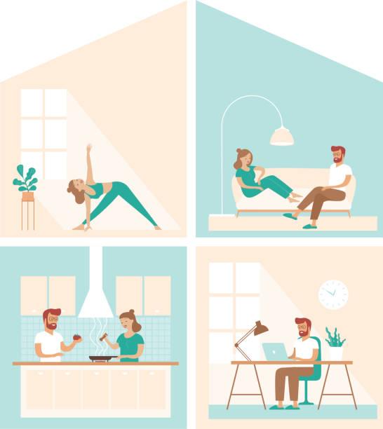 bildbanksillustrationer, clip art samt tecknat material och ikoner med familjeliv hemma under karantän.hus tvärsnitt, inhemsk livsstil koncept. - arbeta köksbord man