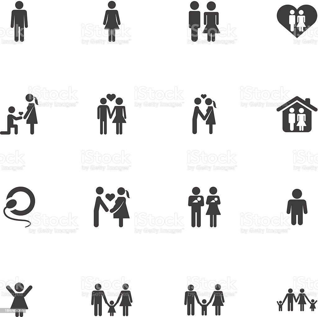 family life icons vector art illustration