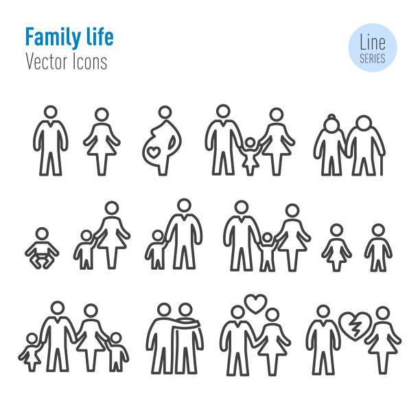 가족 생활 아이콘-벡터 라인 시리즈 - 자녀 실루엣 stock illustrations
