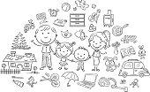 Family life set, black and white outline