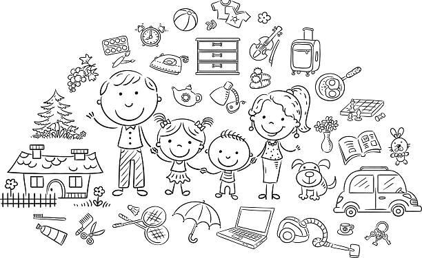 Family life set, black and white outline vector art illustration