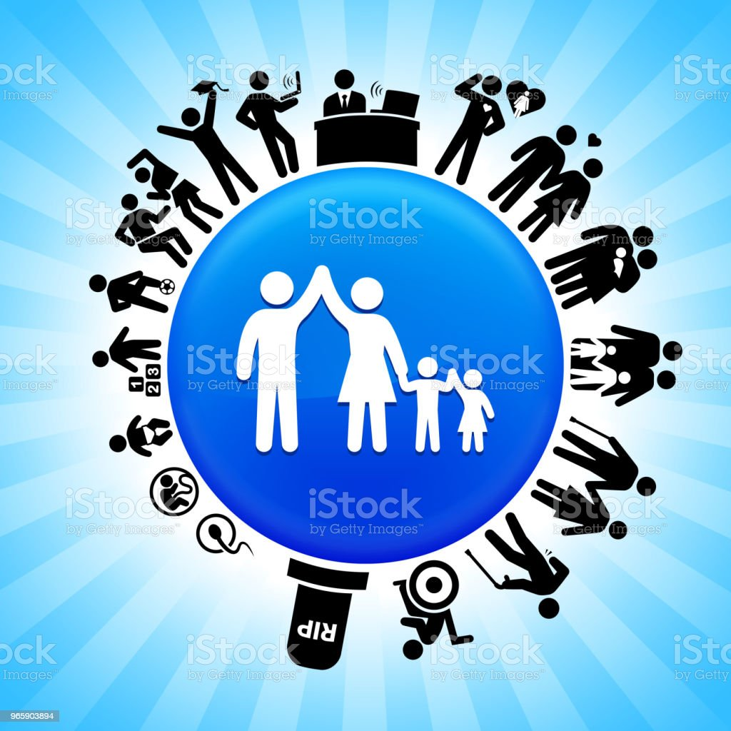 Family  Lifecycle Stages of Life Background - Royalty-free Adolescence stock vector