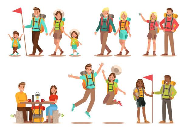 familie lifestyle. unterwegs mit der familie zeit. glückliche familie gehen, camping. vektor-illustration-design. - laufführer stock-grafiken, -clipart, -cartoons und -symbole