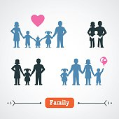 Large Family Silhouette, vector illustration.