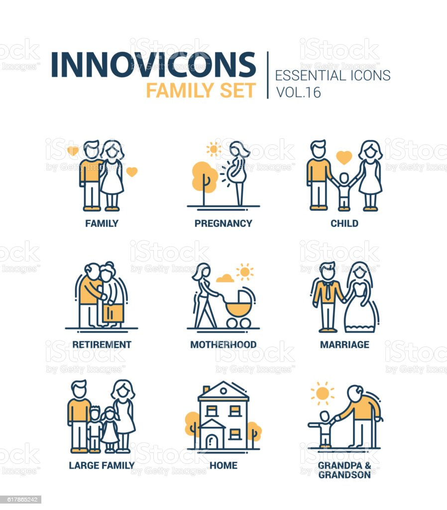 Family - line design icons set - Illustration vectorielle