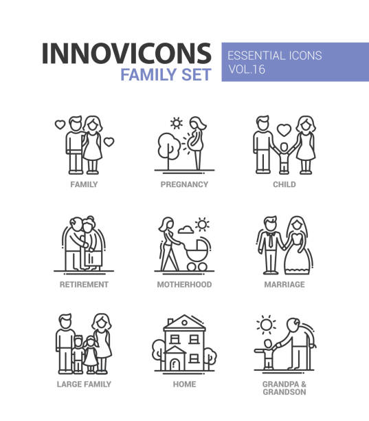 family - line design icons set - family stock illustrations, clip art, cartoons, & icons