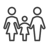 Family line icon, 1st June children protection day concept, Mother, father and daughter sign on white background, Parents with child symbol in outline style for mobile, web. Vector graphics
