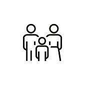 Line icon of family. Family law, insurance, protection. Family concept. Can be used for topics like relationships, society, population