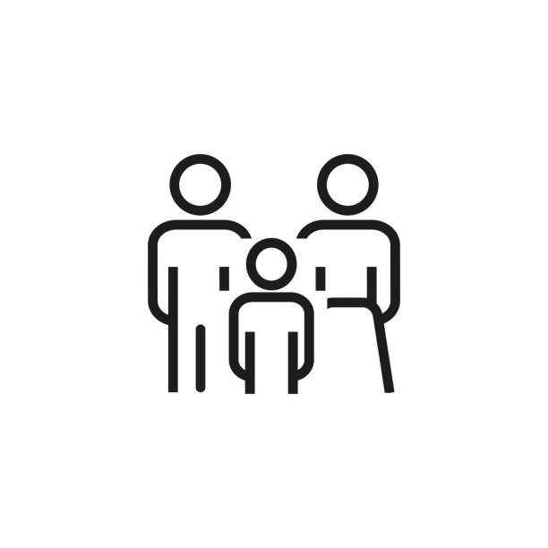 Family line icon Line icon of family. Family law, insurance, protection. Family concept. Can be used for topics like relationships, society, population parenting stock illustrations