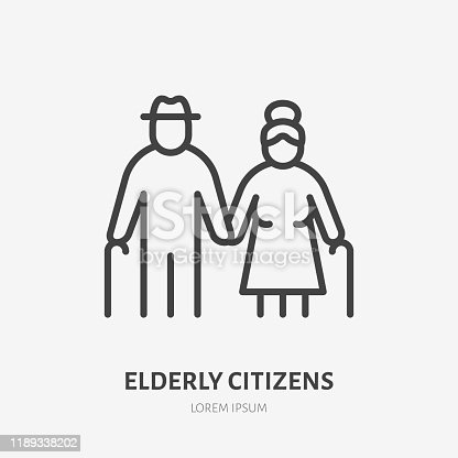 istock Family line icon, vector pictogram of grandparents holding hands. Elderly relatives, happy old couple illustration, people sign 1189338202