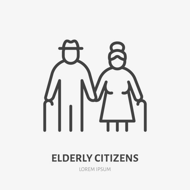 family line icon, vector pictogram of grandparents holding hands. elderly relatives, happy old couple illustration, people sign - care home stock illustrations