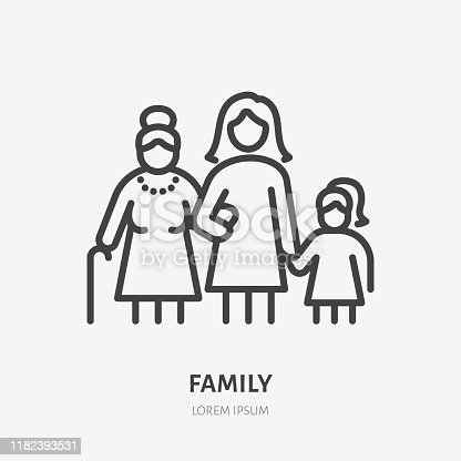istock Family line icon, vector pictogram of three female generations - grandmother, mother, daugther. Young girl with older relatives illustration, people sign 1182393531