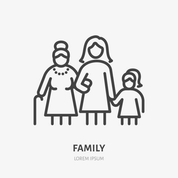 ファミリーラインアイコン、3つの女性世代のベクトルピクトグラム - 祖母、母、ダガー。年上の親戚イラストを持つ若い女の子、人々がサイン - 親子点のイラスト素材/クリップアート素材/マンガ素材/アイコン素材