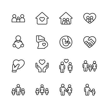 Family Line Icons. Editable Stroke. Pixel Perfect. For Mobile and Web. Contains such icons as Family, Parent, Father, Mother, Child, Home, Love, Care, Pregnancy, Handshake, Support, Togetherness, Community, Multi-Generation Family, Social Gathering.