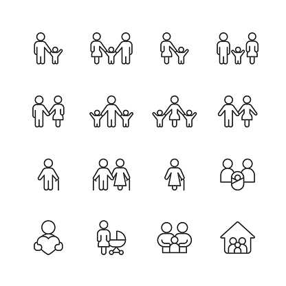 Family Line Icons. Editable Stroke. Pixel Perfect. For Mobile and Web. Contains such icons as Family, Parent, Father, Mother, Child, Home, Love, Care, Pregnancy, Support, Togetherness, Community, Multi-Generation Family, Social Gathering, Senior Adult.