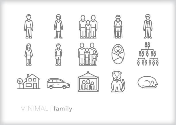 illustrazioni stock, clip art, cartoni animati e icone di tendenza di family line icons of people, house, pets and car - family home