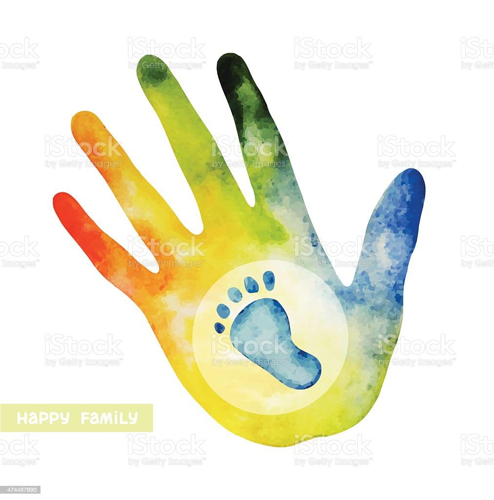 Family logo - hand and footprint. vector art illustration