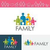 Family Logo With Icons Set