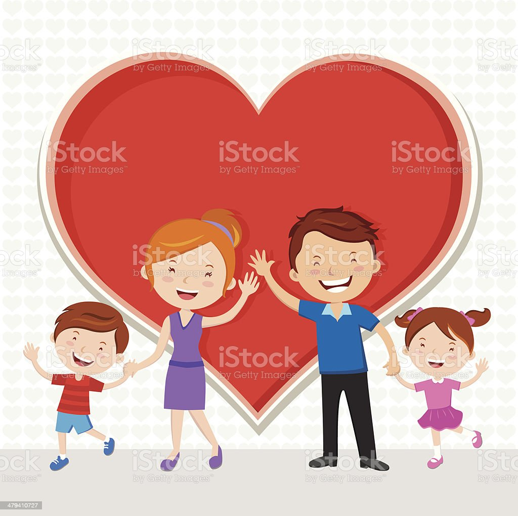 Family Love vector art illustration