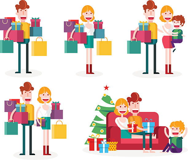 family loves shopping together. christmas time. - elternhochzeitsgeschenke stock-grafiken, -clipart, -cartoons und -symbole