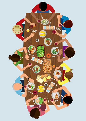 Family Lunch Top View
