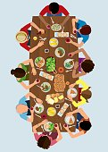 Vector illustration of an aerial view over a table with a large family and friends taking his lunch