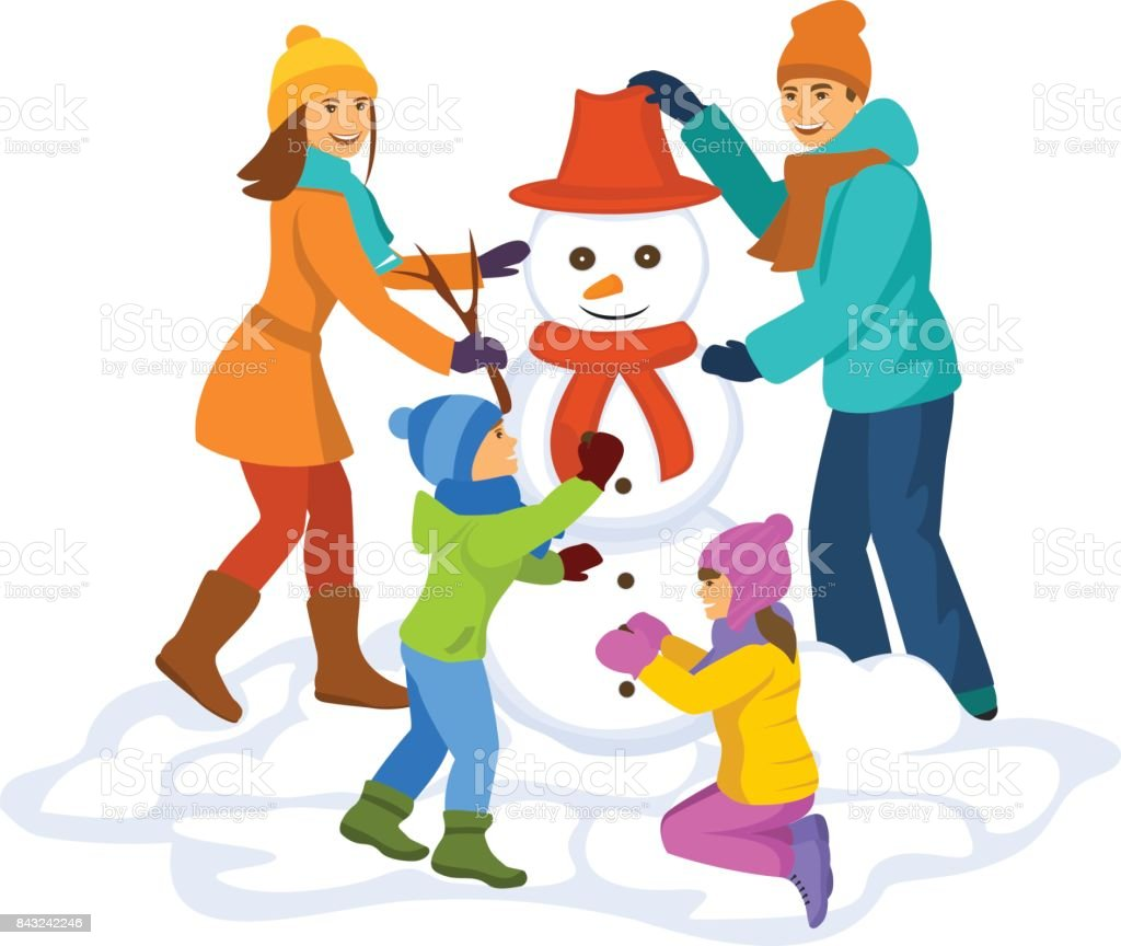 royalty free building a snowman clip art vector images