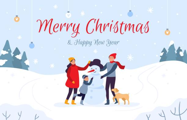 Family making snowman holiday card. Merry Christmas and Happy New Year, 2020 winter holidays vector illustration Family making snowman holiday card. Merry Christmas and Happy New Year, 2020 winter holidays. People character with pet make Xmas snowman, outdoor teamwork postcard vector illustration christmas family stock illustrations