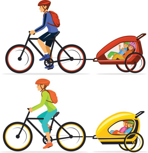 Family, Man and Woman with their  his children traveling cycling together. Father and mother tows bike trolley with happy kids isolated  vector ilustration vector art illustration