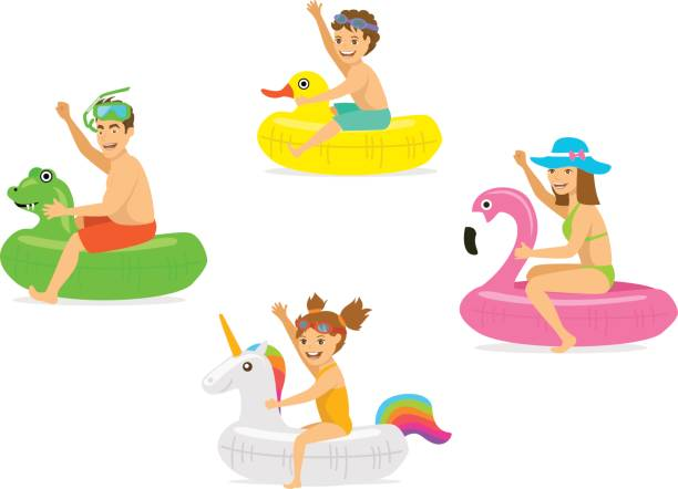 ilustrações de stock, clip art, desenhos animados e ícones de family, man woman, parents and children on summer time vacation swimming on iflatable floating  mattress rings in shapes of dragon, duck, flamingo, unicorn - brinquedos na piscina