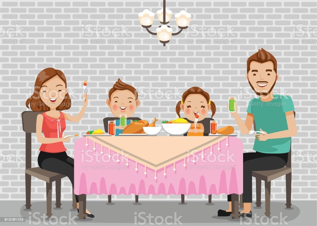 Family meal vector art illustration