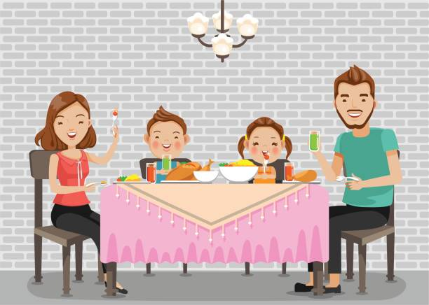 family meal - family dinner stock illustrations, clip art, cartoons, & icons